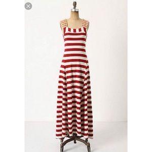 Anthropologie HWR Monogram Red Stripe Maxi Dress